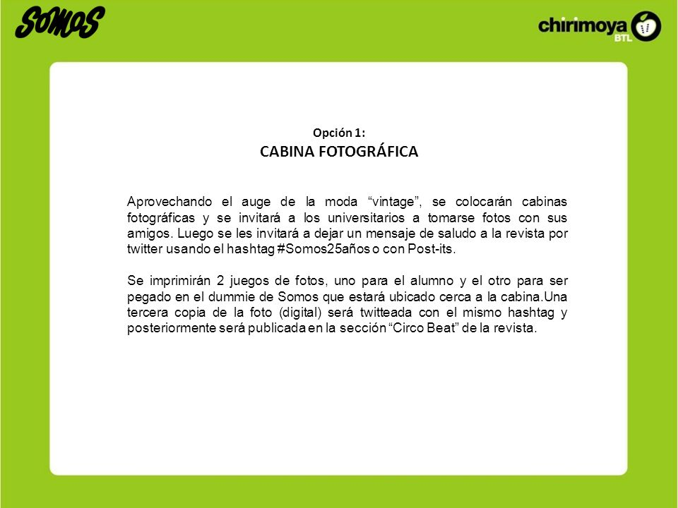 CABINA FOTOGRÁFICA Opción 1: