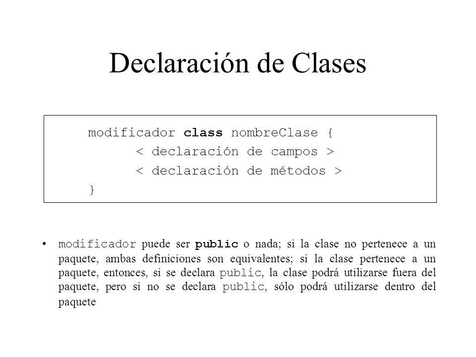 Declaración de Clases modificador class nombreClase {