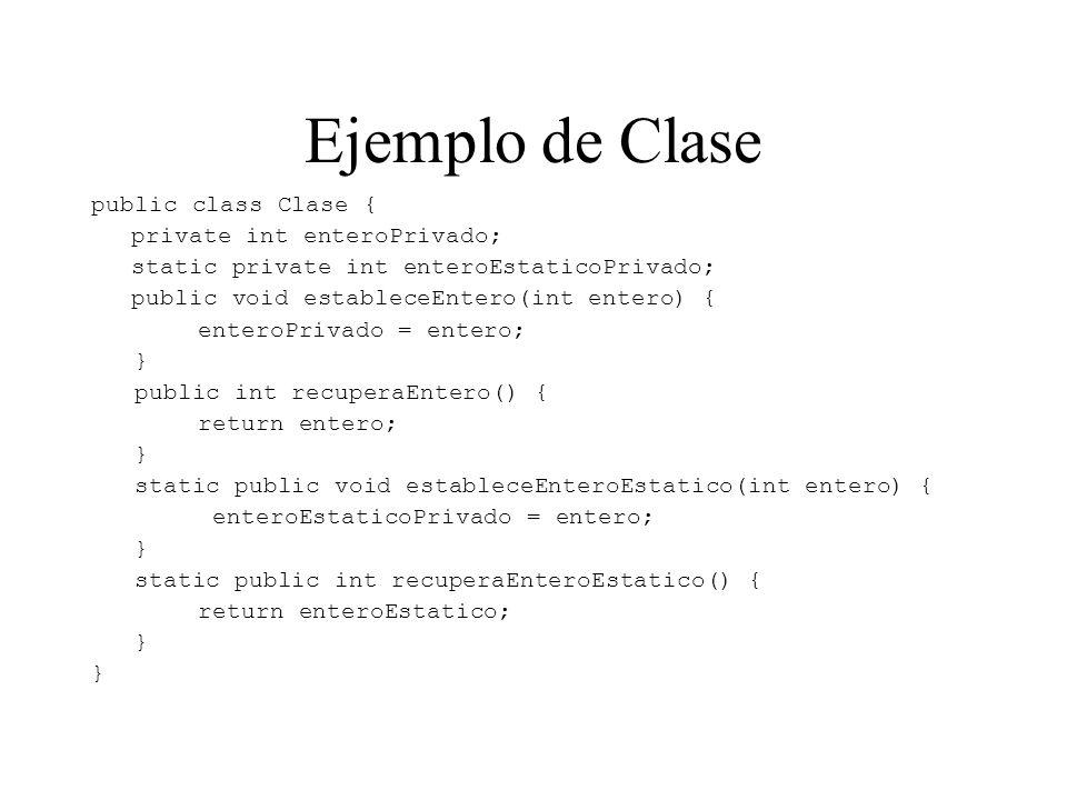 Ejemplo de Clase public class Clase { private int enteroPrivado;