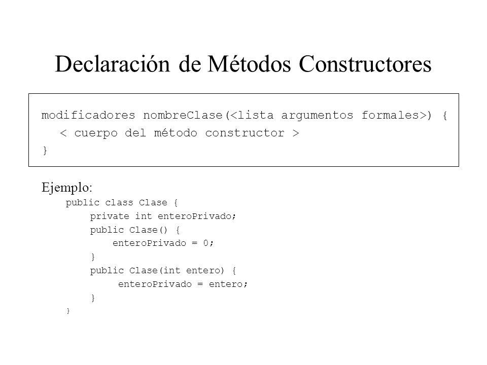 Declaración de Métodos Constructores