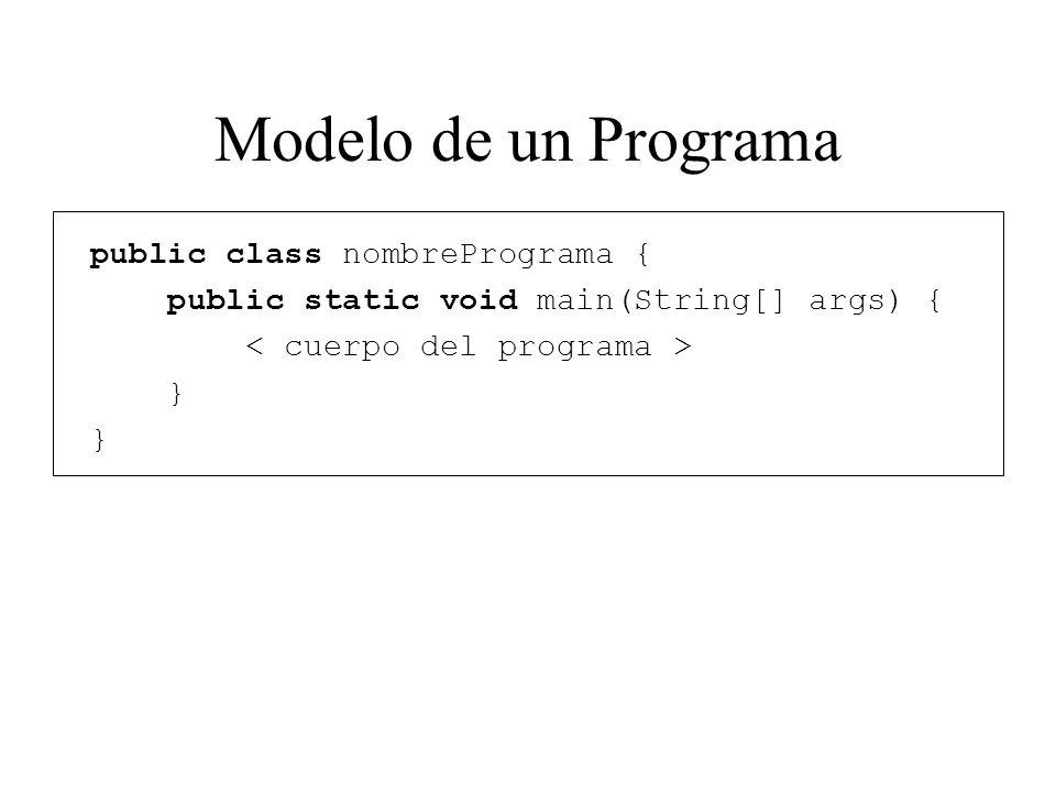 Modelo de un Programa public class nombrePrograma {
