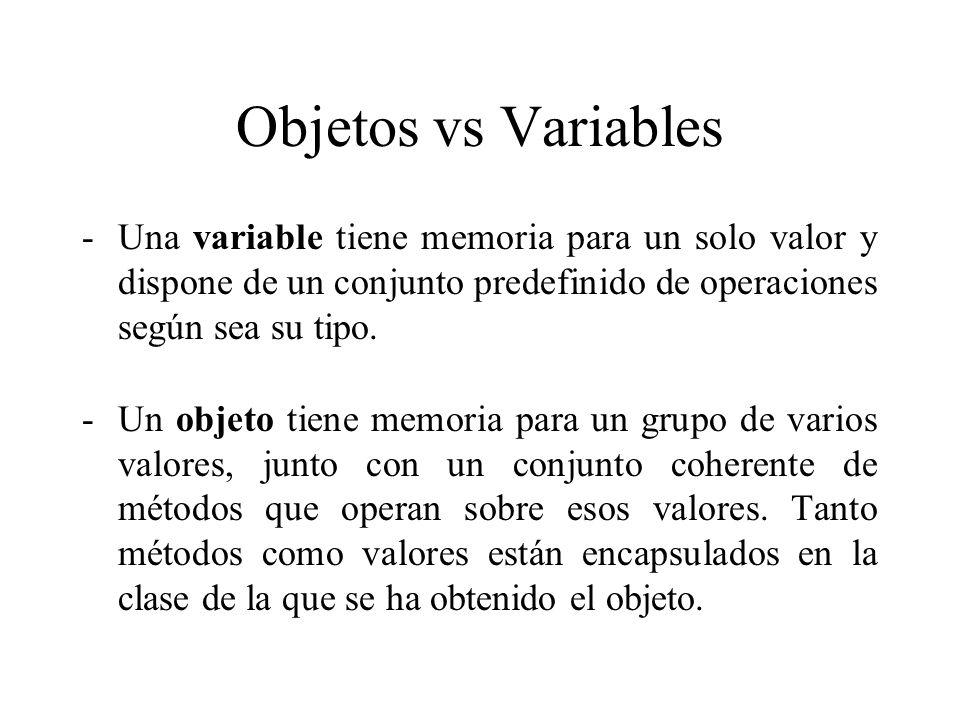 Objetos vs Variables Una variable tiene memoria para un solo valor y dispone de un conjunto predefinido de operaciones según sea su tipo.