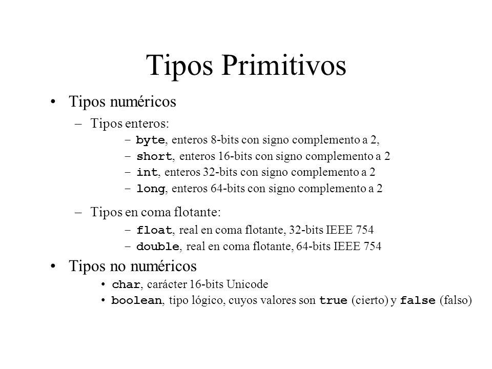 Tipos Primitivos Tipos numéricos Tipos no numéricos Tipos enteros: