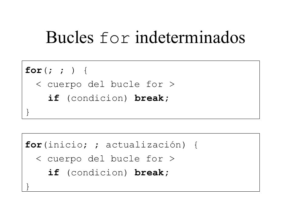 Bucles for indeterminados