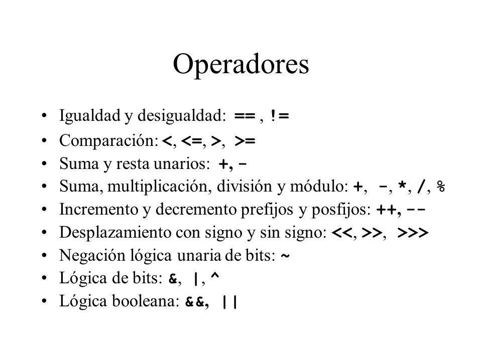 Operadores Igualdad y desigualdad: == , !=