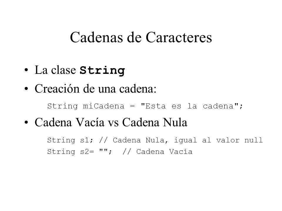 Cadenas de Caracteres La clase String Creación de una cadena: