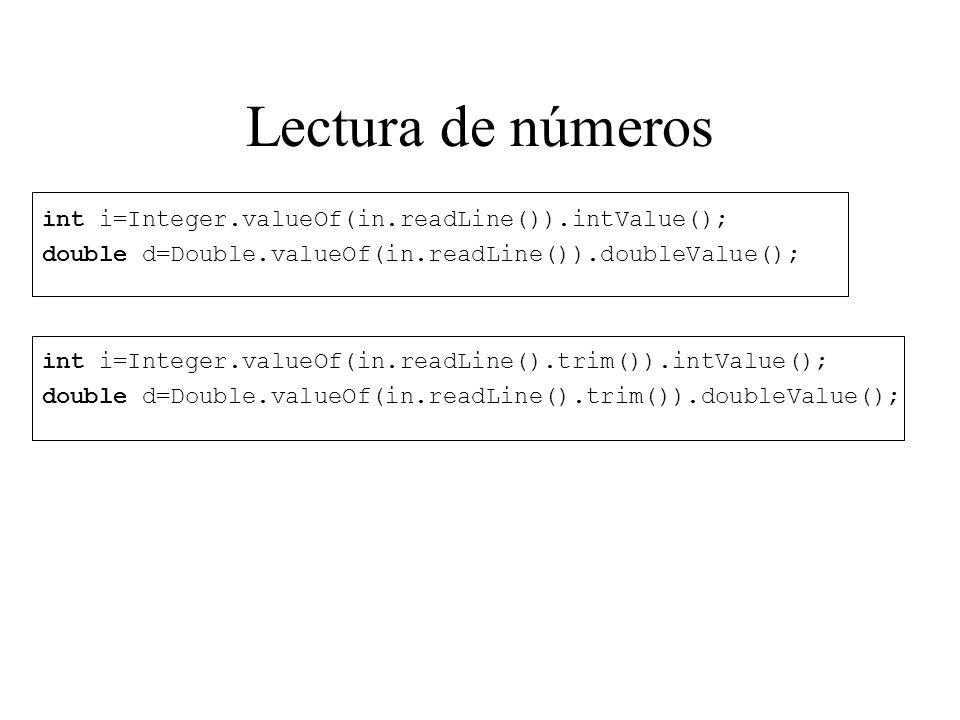 Lectura de números int i=Integer.valueOf(in.readLine()).intValue();