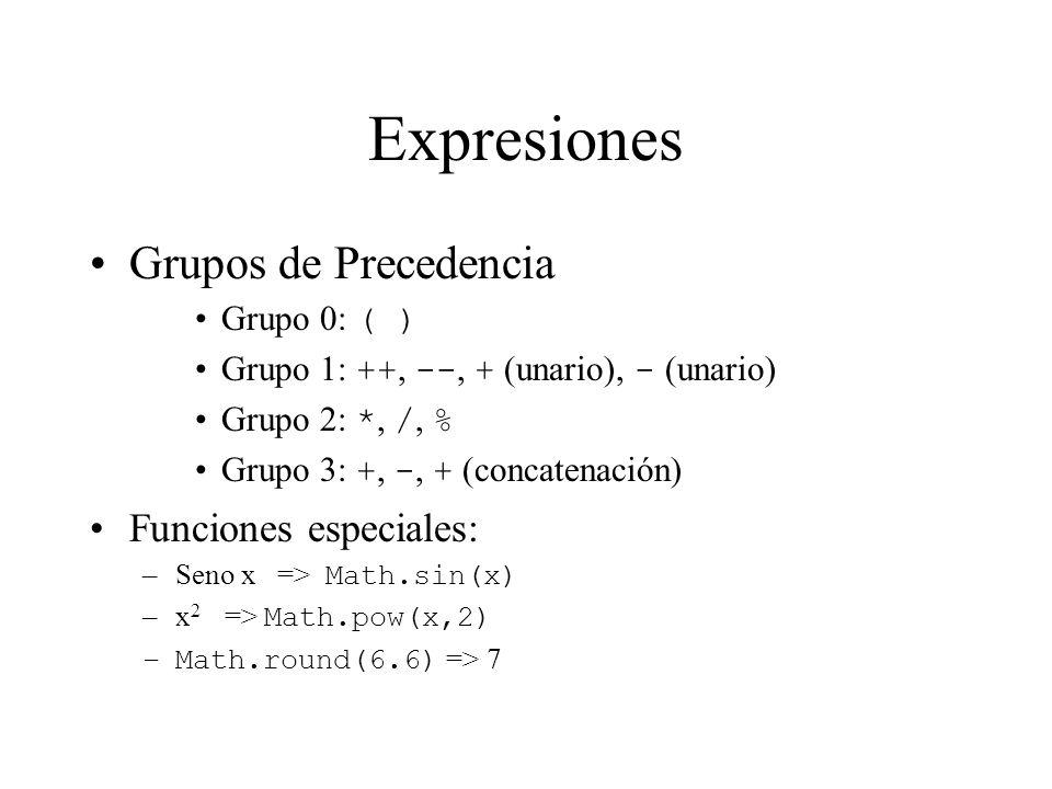 Expresiones Grupos de Precedencia Funciones especiales: Grupo 0: ( )