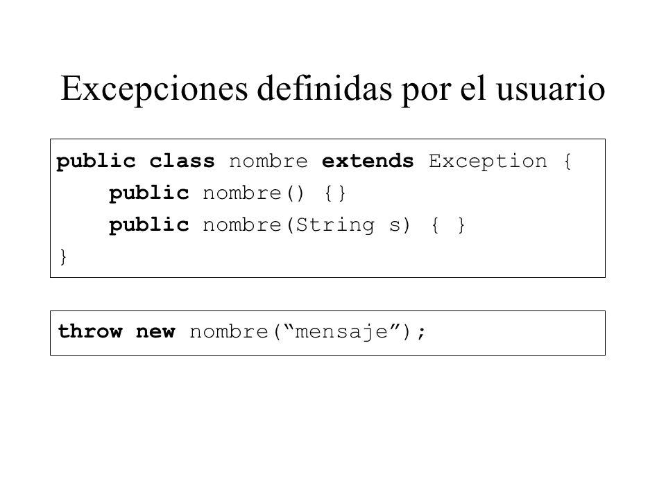 Excepciones definidas por el usuario
