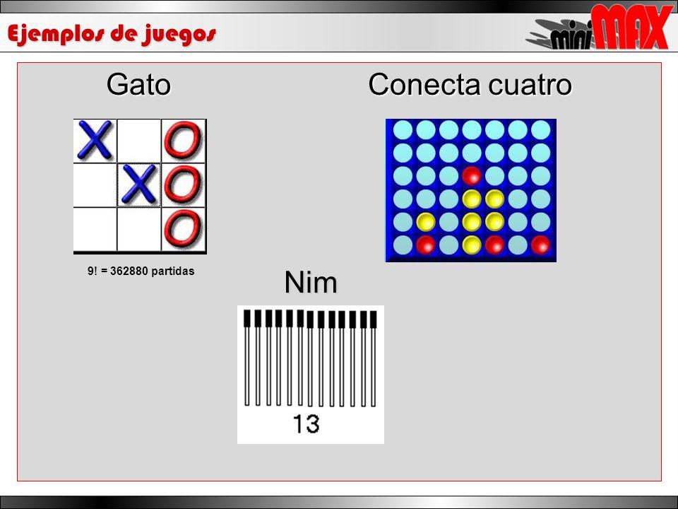Ejemplos de juegos Gato Conecta cuatro 9! = 362880 partidas Nim