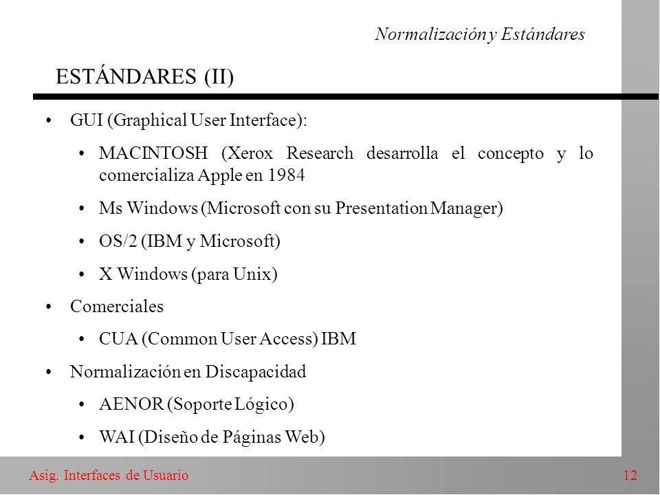 Normalización y Estándares ESTÁNDARES (II)