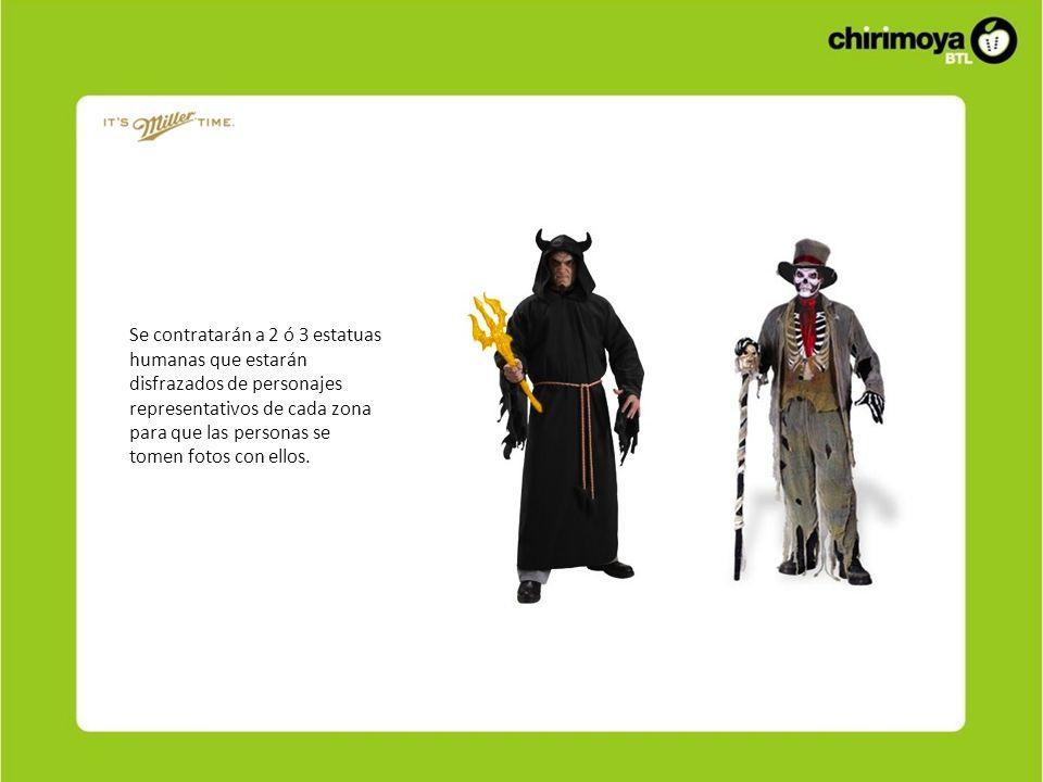 Se contratarán a 2 ó 3 estatuas humanas que estarán disfrazados de personajes representativos de cada zona para que las personas se tomen fotos con ellos.