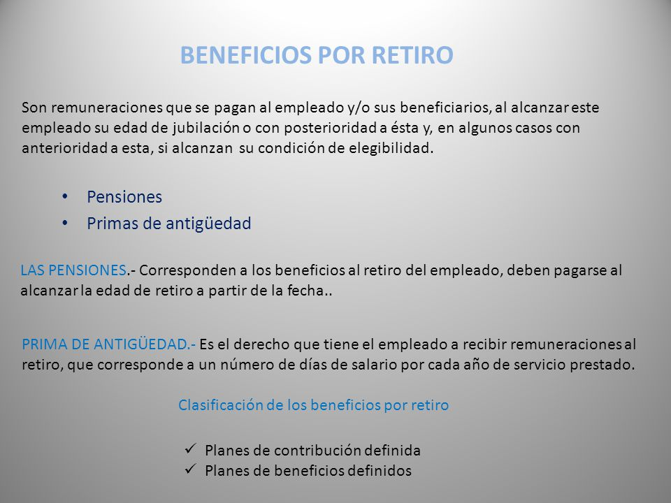 Clasificación de los beneficios por retiro
