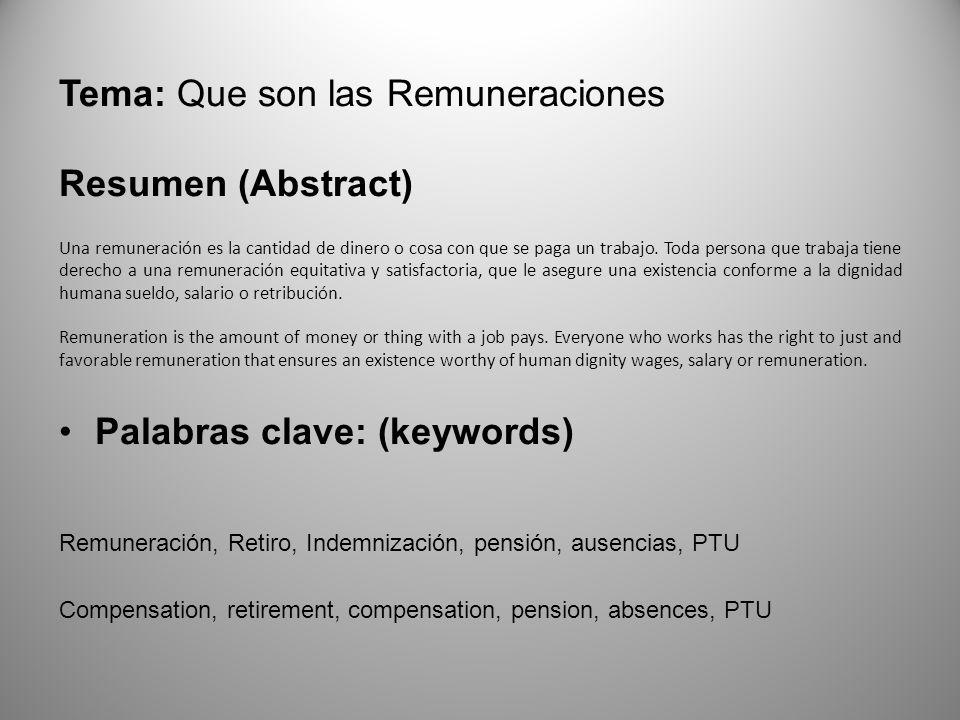 Tema: Que son las Remuneraciones Resumen (Abstract)
