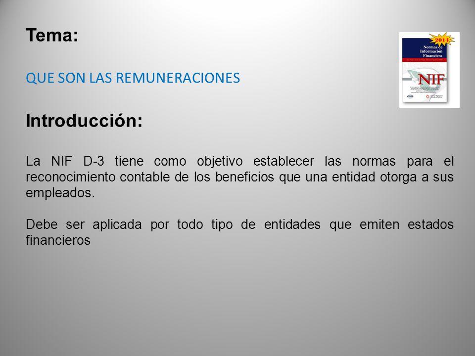 Tema: Introducción: QUE SON LAS REMUNERACIONES