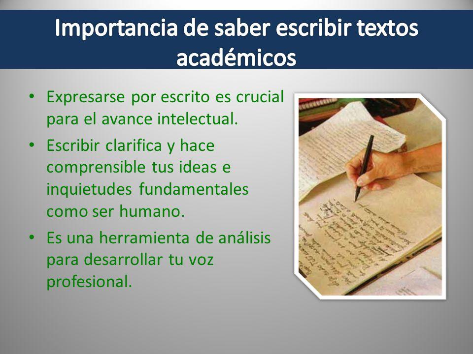Importancia de saber escribir textos académicos