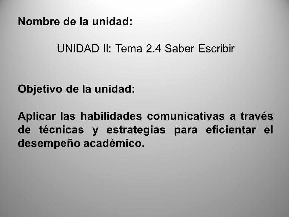 UNIDAD II: Tema 2.4 Saber Escribir