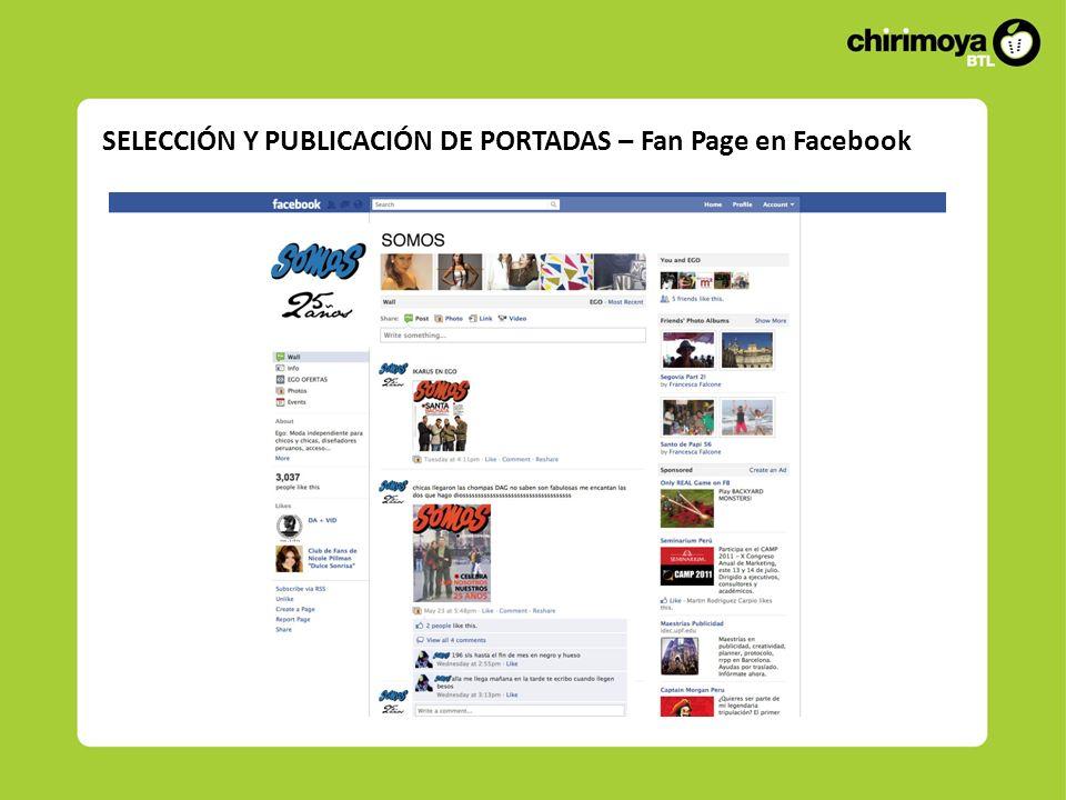 SELECCIÓN Y PUBLICACIÓN DE PORTADAS – Fan Page en Facebook