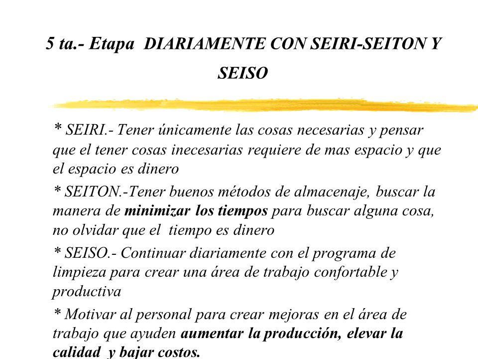 5 ta.- Etapa DIARIAMENTE CON SEIRI-SEITON Y SEISO