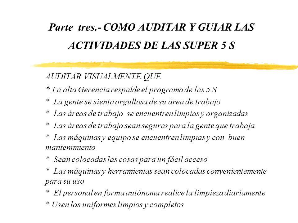 Parte tres.- COMO AUDITAR Y GUIAR LAS ACTIVIDADES DE LAS SUPER 5 S