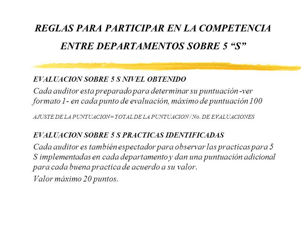 REGLAS PARA PARTICIPAR EN LA COMPETENCIA ENTRE DEPARTAMENTOS SOBRE 5 S