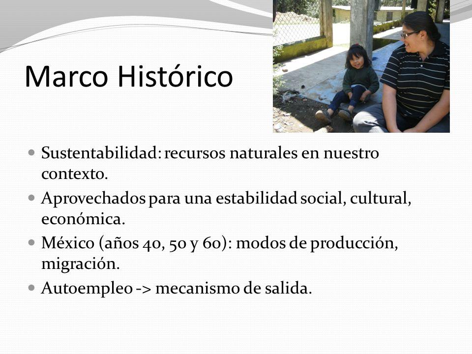 Marco Histórico Sustentabilidad: recursos naturales en nuestro contexto. Aprovechados para una estabilidad social, cultural, económica.