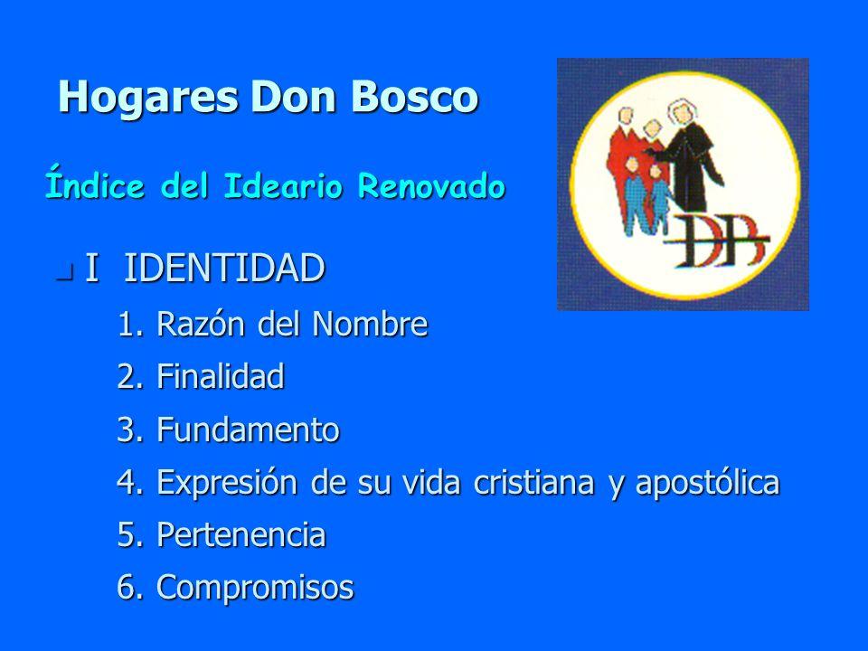 Hogares Don Bosco I IDENTIDAD Índice del Ideario Renovado