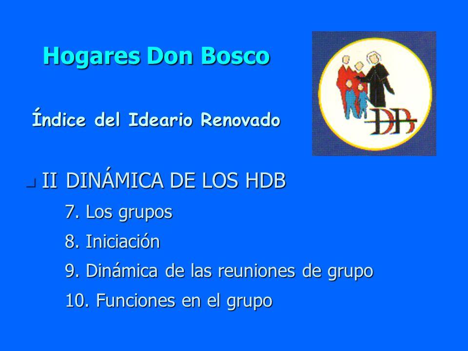 Hogares Don Bosco II DINÁMICA DE LOS HDB Índice del Ideario Renovado