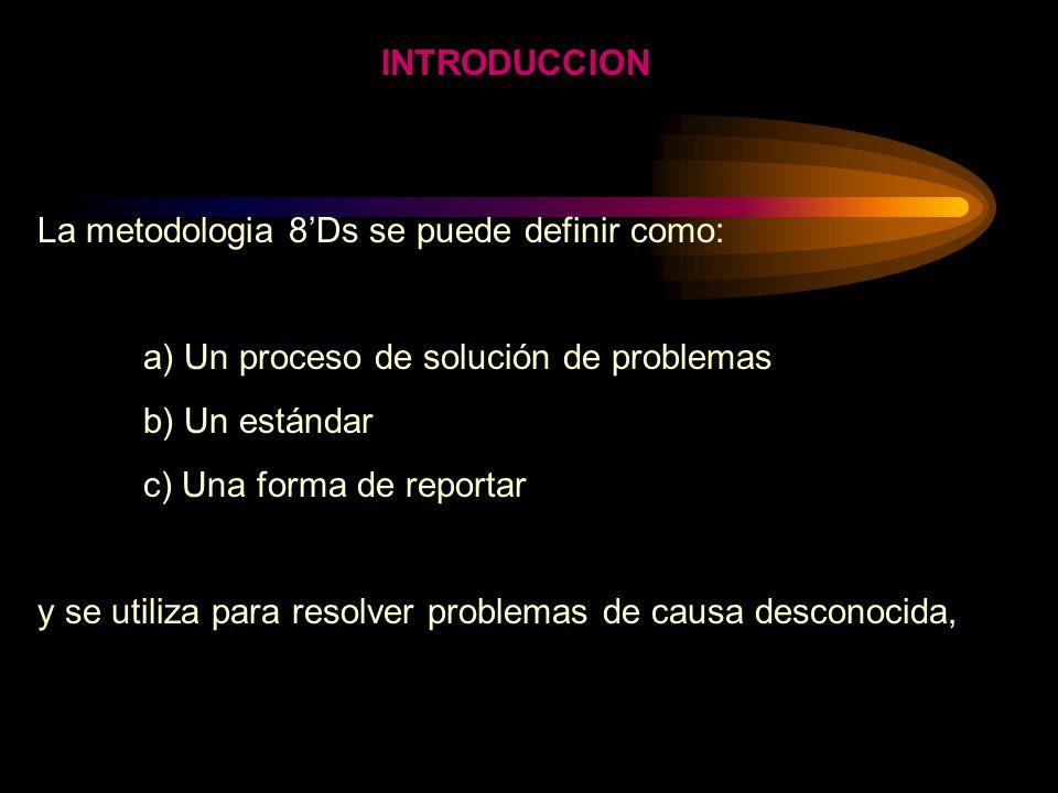 INTRODUCCION La metodologia 8'Ds se puede definir como: a) Un proceso de solución de problemas. b) Un estándar.
