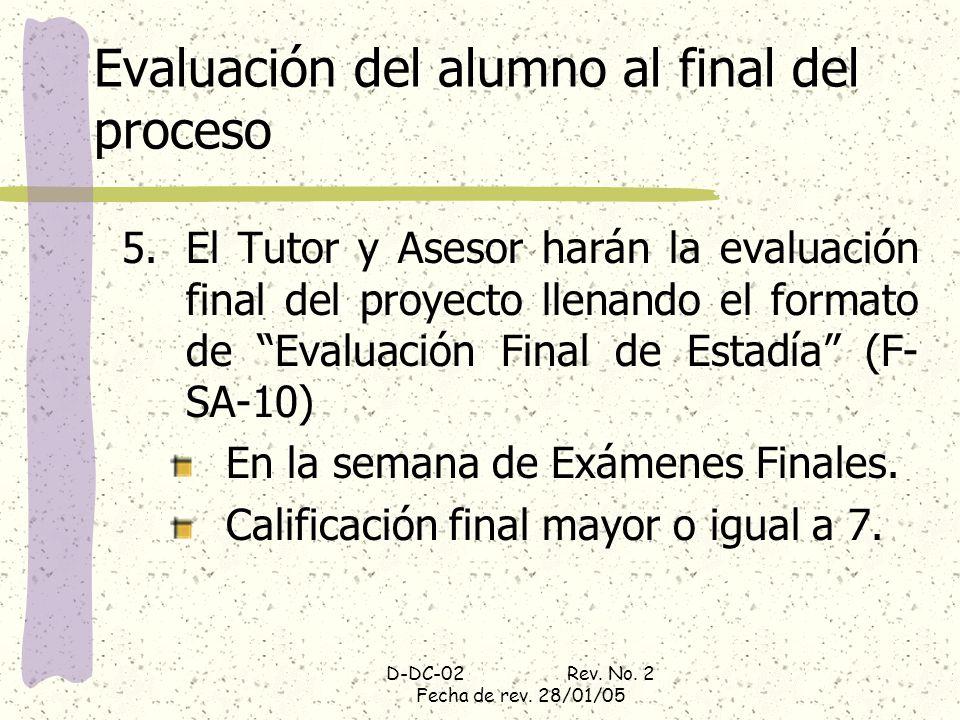Evaluación del alumno al final del proceso