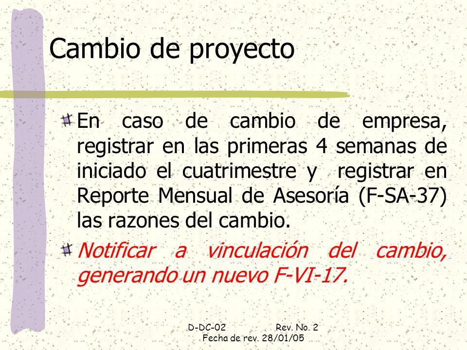 D-DC-02 Rev. No. 2 Fecha de rev. 28/01/05
