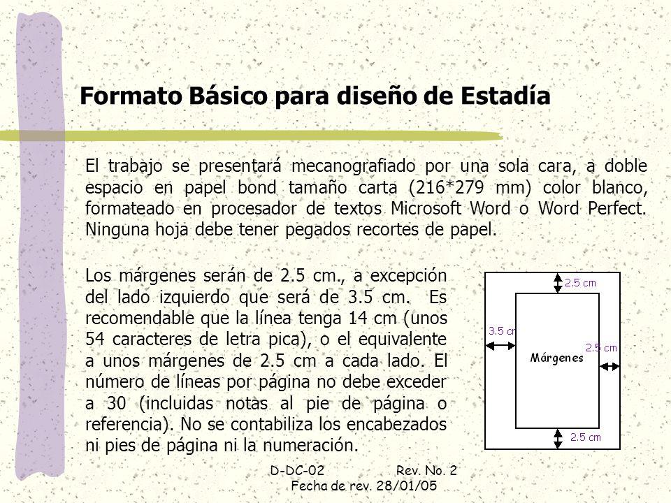 Formato Básico para diseño de Estadía