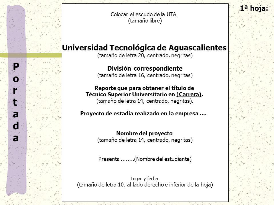 P o r t a d a Universidad Tecnológica de Aguascalientes 1ª hoja: