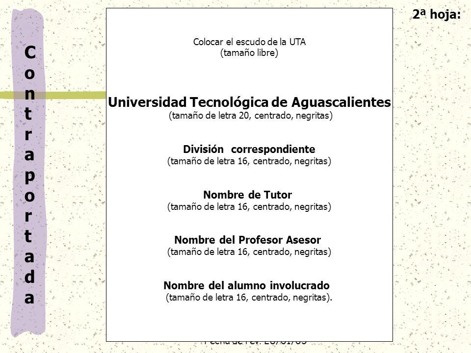 Contraportada 2ª hoja: Universidad Tecnológica de Aguascalientes