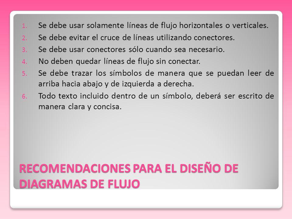 RECOMENDACIONES PARA EL DISEÑO DE DIAGRAMAS DE FLUJO
