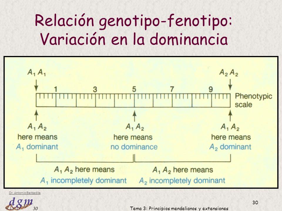 Relación genotipo-fenotipo: Variación en la dominancia