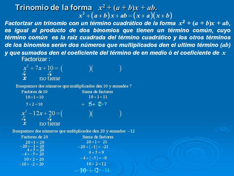 Trinomio de la forma x2 + (a + b)x + ab.