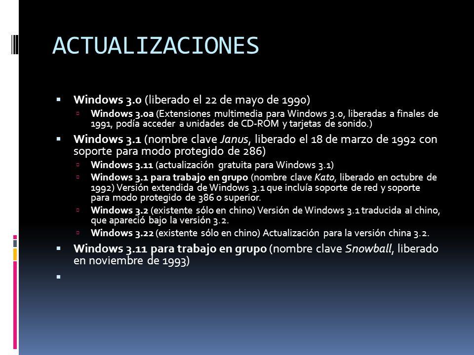ACTUALIZACIONES Windows 3.0 (liberado el 22 de mayo de 1990)