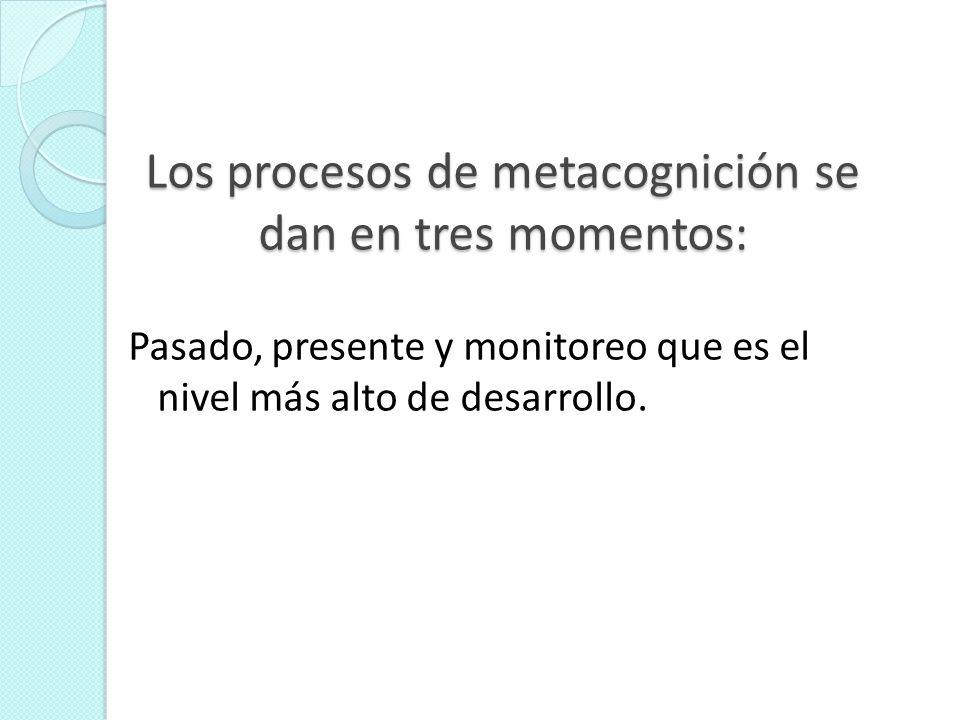 Los procesos de metacognición se dan en tres momentos: