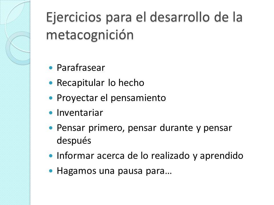 Ejercicios para el desarrollo de la metacognición