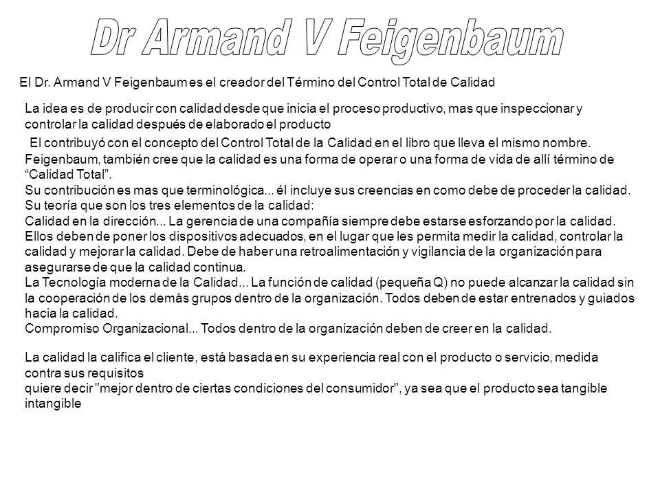 Dr Armand V Feigenbaum El Dr. Armand V Feigenbaum es el creador del Término del Control Total de Calidad.