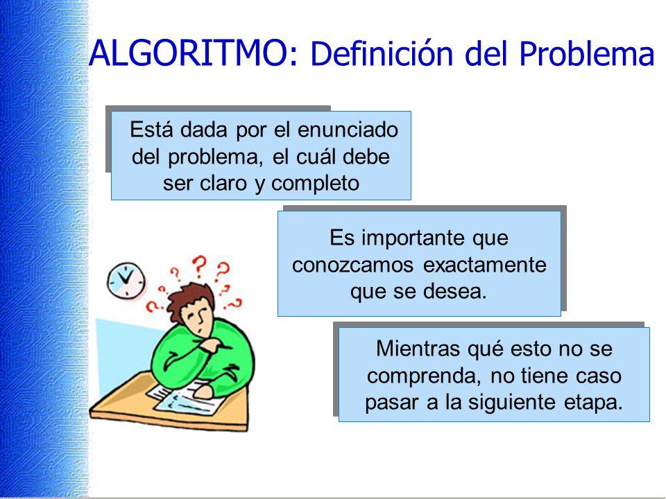ALGORITMO: Definición del Problema