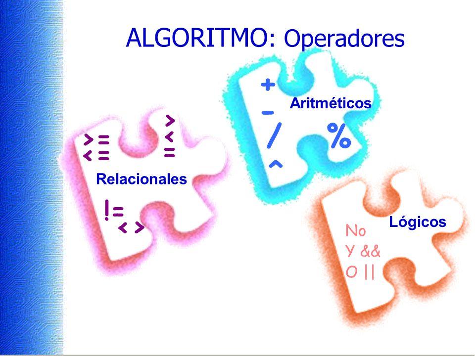 ALGORITMO: Operadores