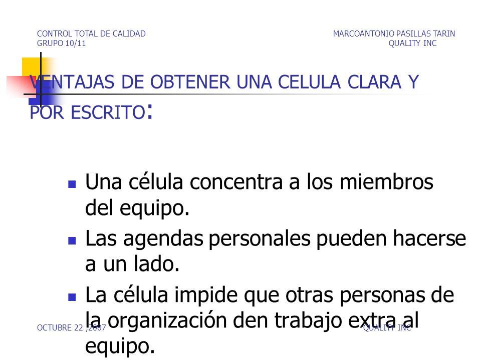 VENTAJAS DE OBTENER UNA CELULA CLARA Y POR ESCRITO: