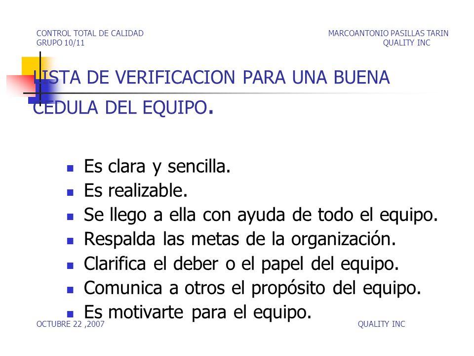 LISTA DE VERIFICACION PARA UNA BUENA CEDULA DEL EQUIPO.