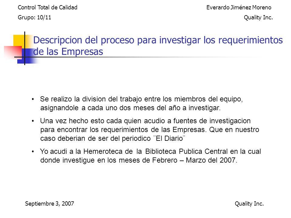 Septiembre 3, 2007 Quality Inc.
