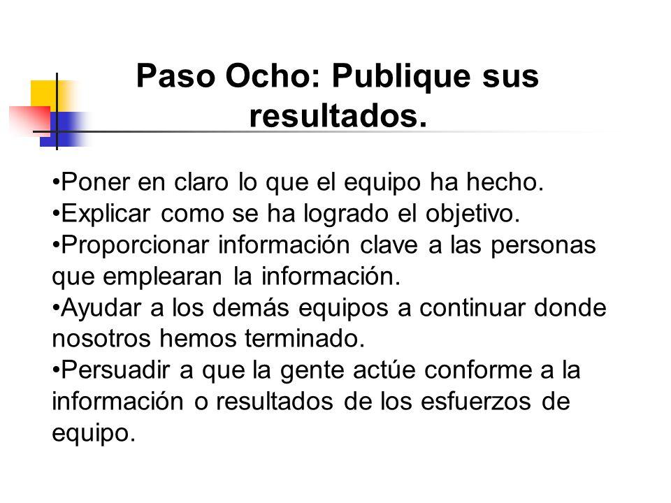 Paso Ocho: Publique sus resultados.