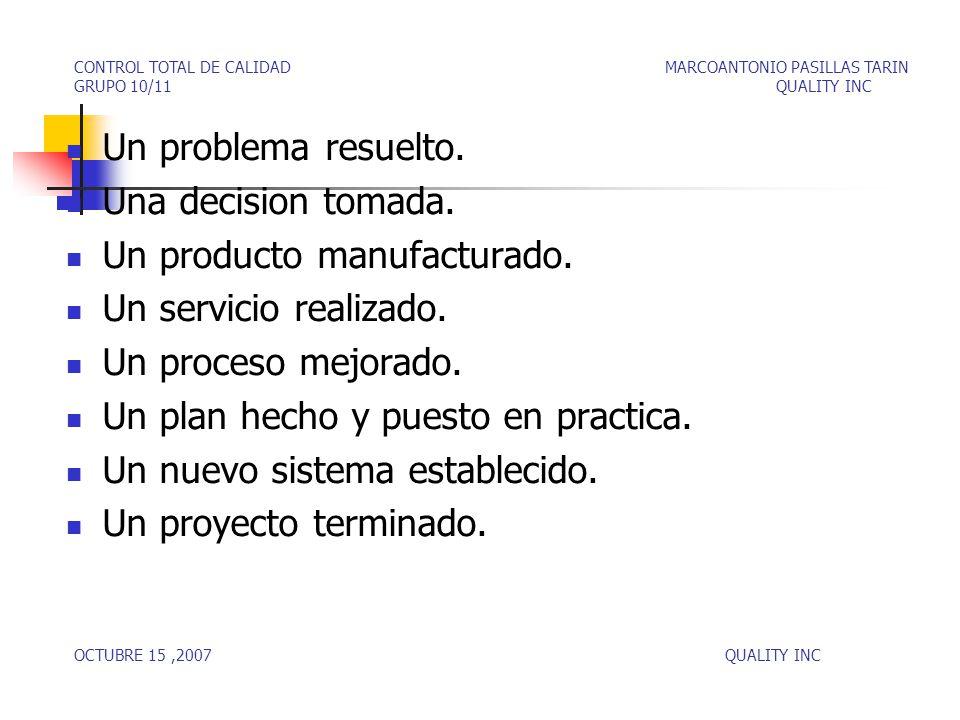 Un producto manufacturado. Un servicio realizado. Un proceso mejorado.