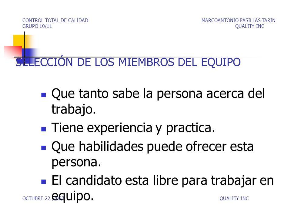 SELECCIÓN DE LOS MIEMBROS DEL EQUIPO