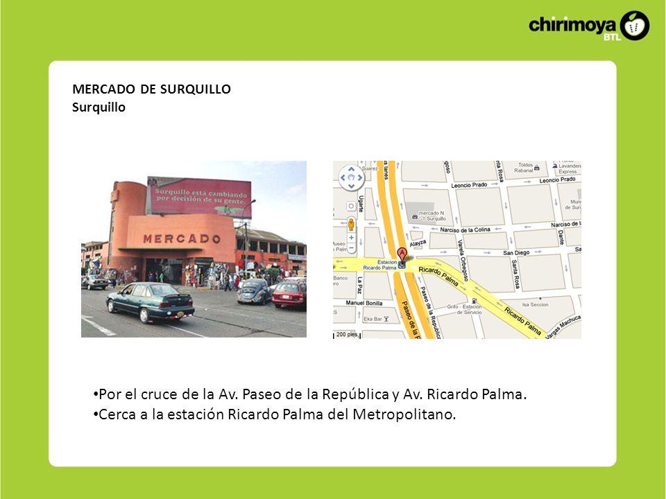 Por el cruce de la Av. Paseo de la República y Av. Ricardo Palma.